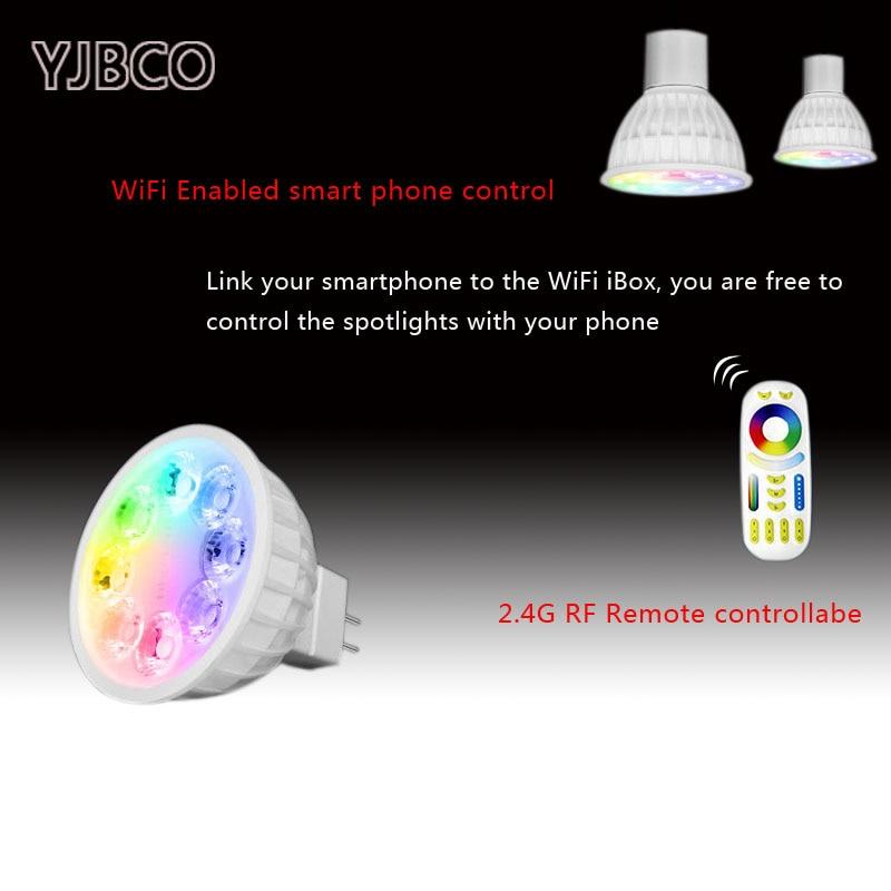 Mi Light AC/DC12V LED Bulb MR16 4W Lamp Light Dimmable RGB + Warm White + White (RGB+CCT) Spotlight Indoor Holiday Decoration