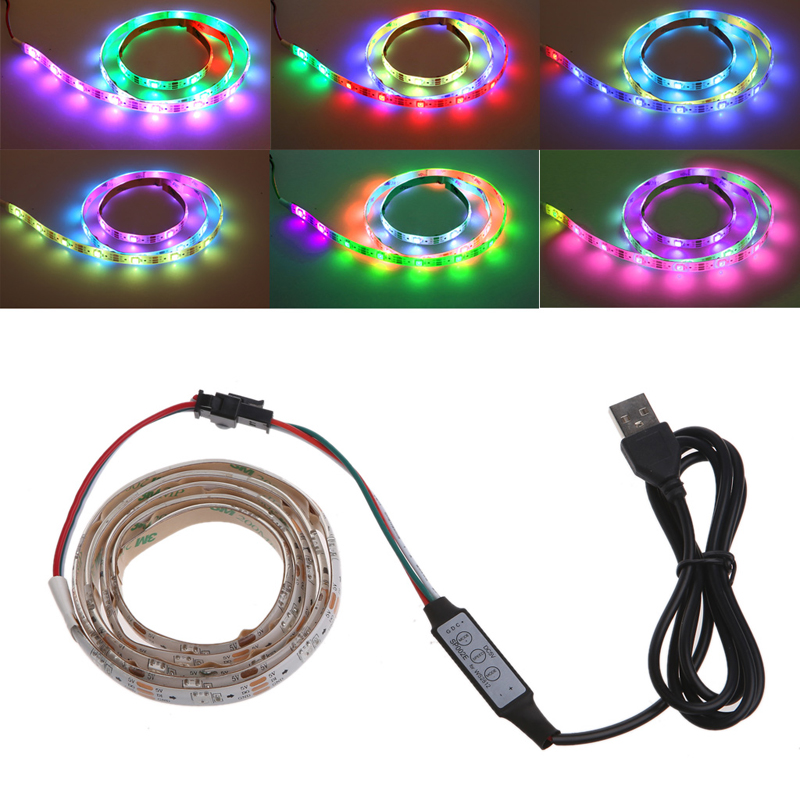 1m SMD 5050 DC 5V 30 LED RGB Strip Night Flow Light Lamp USB IP65 TV