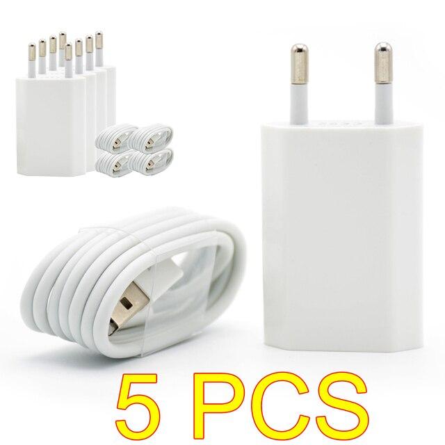 5 pièces/lot couleur blanche ue prise murale chargeur ca USB pour iPhone 8 broches câble de charge + chargeur adaptateur pour Apple iPhone 7 6 6S 5S 5