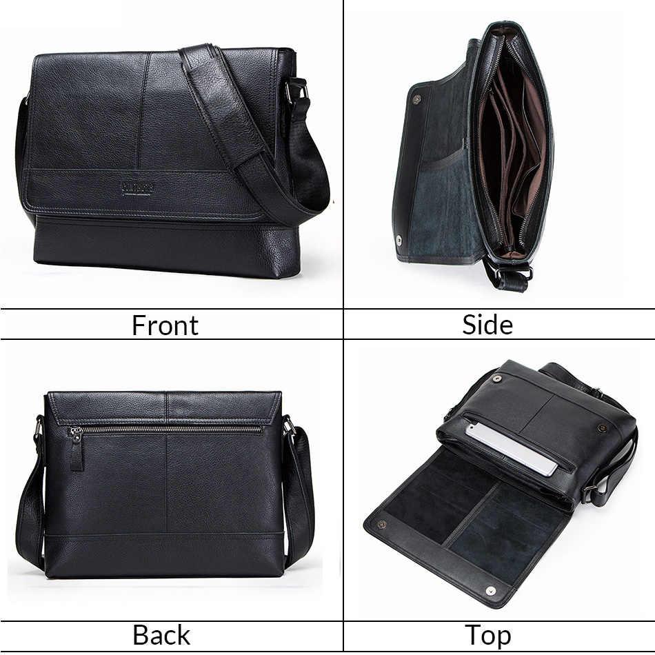 CONTACT'S Портфель из 100% натуральной кожи для мужчин деловая сумка для ноутбука винтажная сумка через плечо 2019