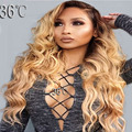 9A Glueless Ombre Lace Front Human Hair Wigs Baby Hair Brazilian Ombre Full Lace wavy Human Hair Wigs#1bT27 For Black Women