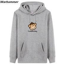 Programmers Embroidery Men Hoodies Fleece Print Geek Codemonkey Fashion Style Customized Black Pullover Winter Tracksuit Hoodie