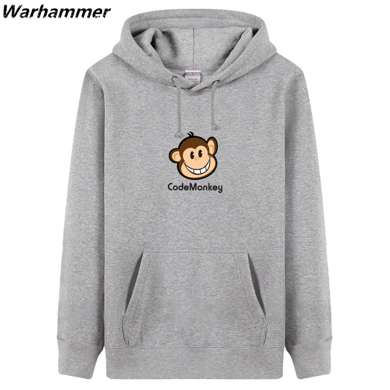 Programmers Embroidery Men Hoodies Fleece Print Geek Codemonkey Fashion Style Customized Black Pullover Winter Tracksuit Hoodie