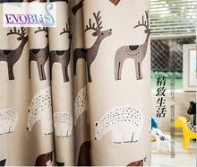 Nordic style curtains for children with elk and polar bear fairy tale window curtain cortinas de quarto tende camera da letto