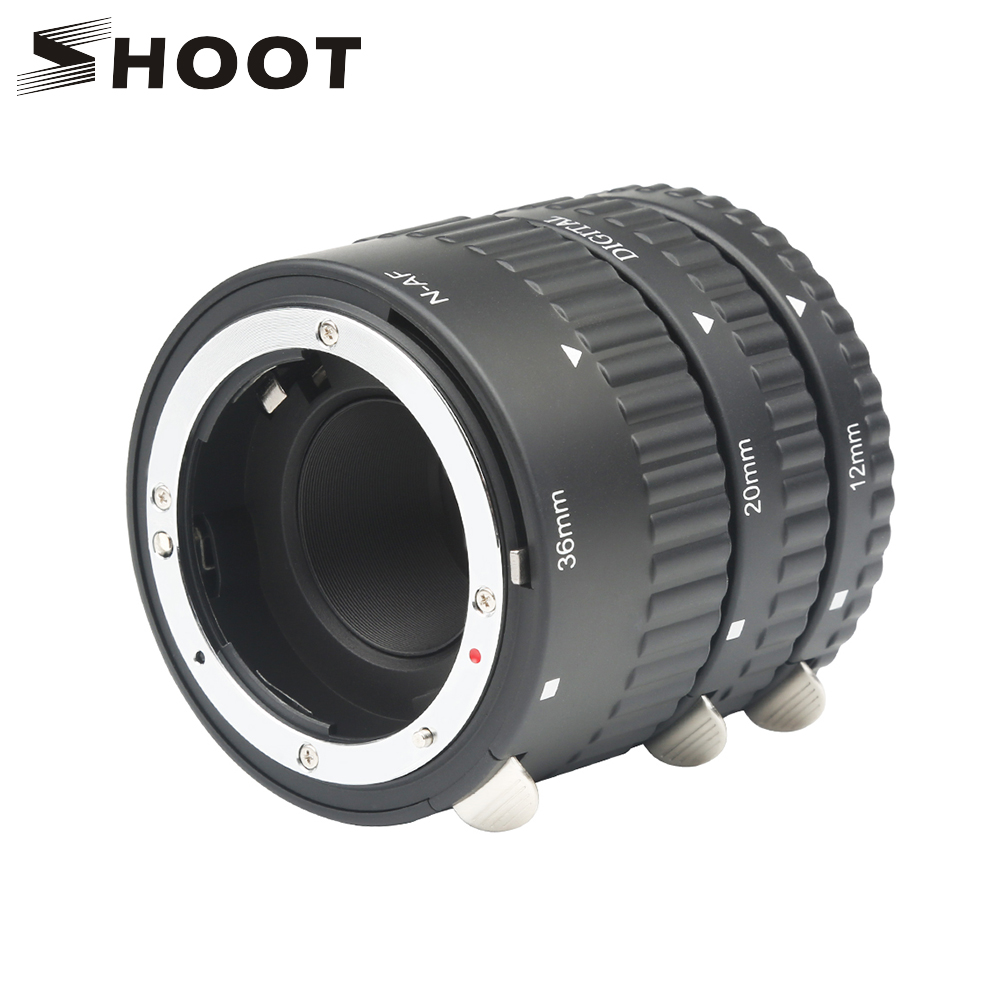 SHOOT Metal Mount Plastic Auto Focus N-AF Macro Extension Tube Set 12mm 20mm 36mm Black For NIKON SLR Cameras Nikon D7100 D5100 недорго, оригинальная цена