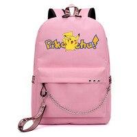 Pokemon Pikachu Backpack School Bags for Teenage Girls Shoulder Rucksack Bags Travel Laptop Chain Backpack Mochila with USB