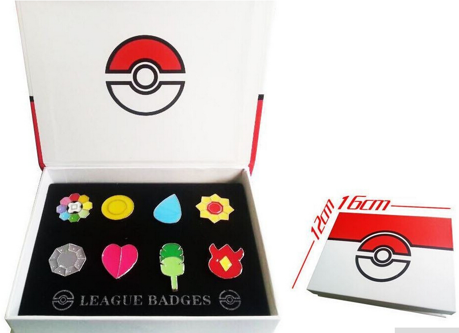 Pokemon Go 1 Kanto League Badge Pin Brooch Pip Cosplay Gift Collection Set
