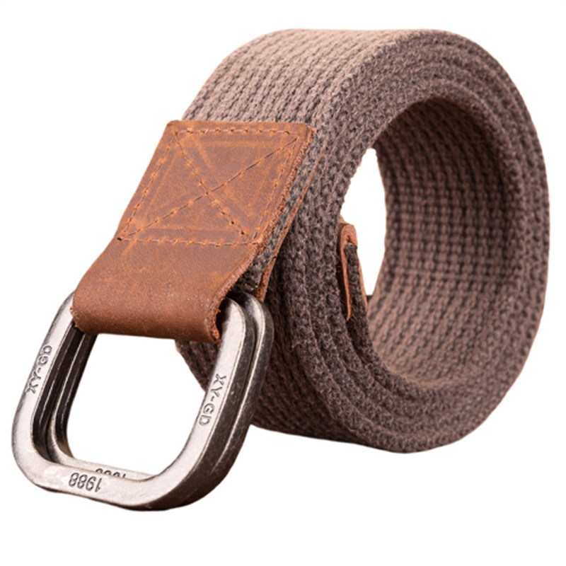 Tactical Canvas Men   Belt   High Quality Unisex Double Ring Buckle Waistband Casual Canvas Female   Belt   Fabric for Jeans Cinto