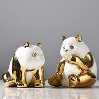 Golden Ceramics Panda Crafts Decoration Creative Parlor Desktop TV cabinet Home Bedroom Decoration Animal statue Souvenir Gifts