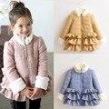 Meninas casaco de inverno 2016-inverno de algodão acolchoado jaqueta de roupas meninas criança casaco amassado criança do sexo feminino de algodão-acolchoado jacket casaco