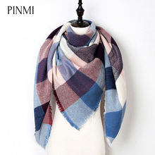 New Warm Winter Scarf Women Shawl Fashion Tartan Cashmere Scarf Luxury Brand Plaid Blanket Scarves Triangle Bufanda Wholesale