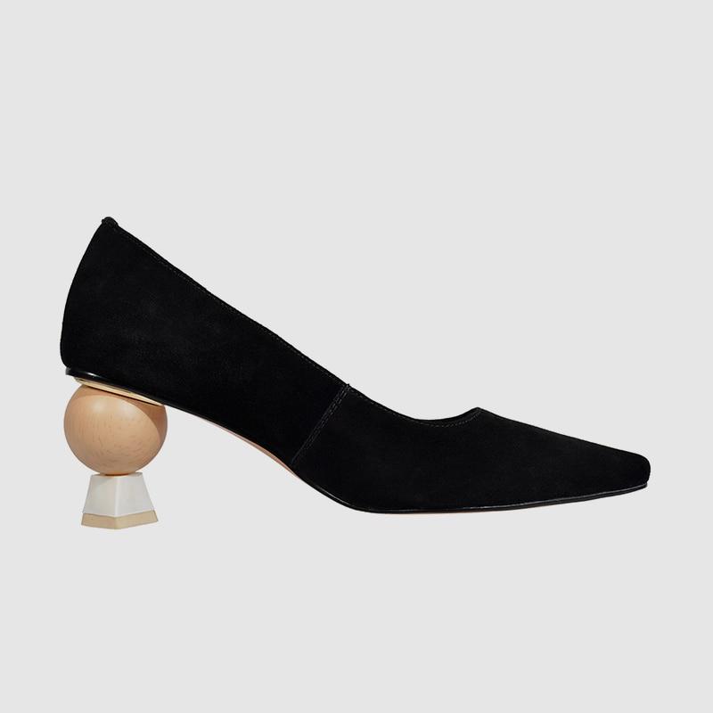 Primavera 42 Khaki Tacón Alto Bonjomarisa Mujer Cuero 34 Nuevo Genuino Oficina Asimétrico Calidad negro De Bombas 2019 Todo Señora Zapatos E8qUqAgp