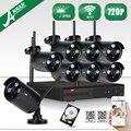 Plug And Play Inalámbrica 8CH NVR CCTV Kit + 2 TB HDD y Noche 1.0MP 720 P HD Impermeable Al Aire Libre IR Sistema de Cámaras de Vigilancia de visión nocturna