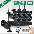 Plug And Play Sem Fio 8CH NVR CCTV Kit + 2 TB HDD & 1.0MP 720 P HD Noite À Prova de Intempéries Ao Ar Livre-visão IR Sistema de Câmera de Vigilância