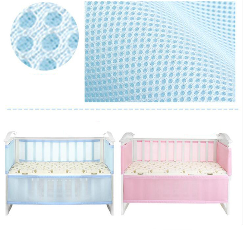 Crib Fence Breathable Mesh Crib Liner Baby Anti-collision Bedding Kit Removable Adjustable Length Two Colors Optional