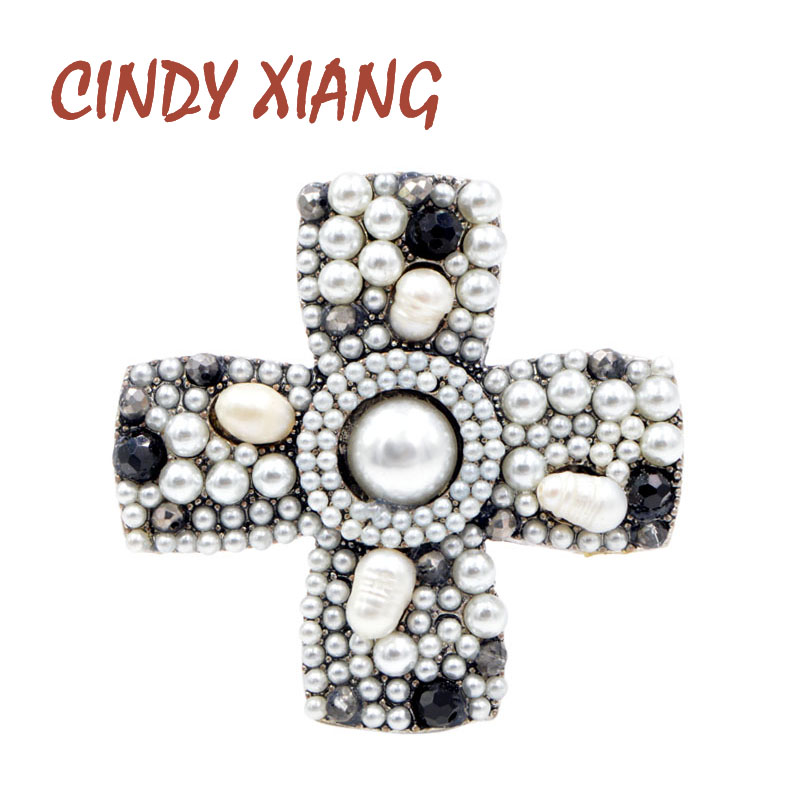 CINDY XIANG 2 Colors Available Pearl Cross Baroque Brooches for Women Vintage Fashion Coat Accessories High Quality Wedding Gift vintage multilayered faux pearl cross bracelet for women