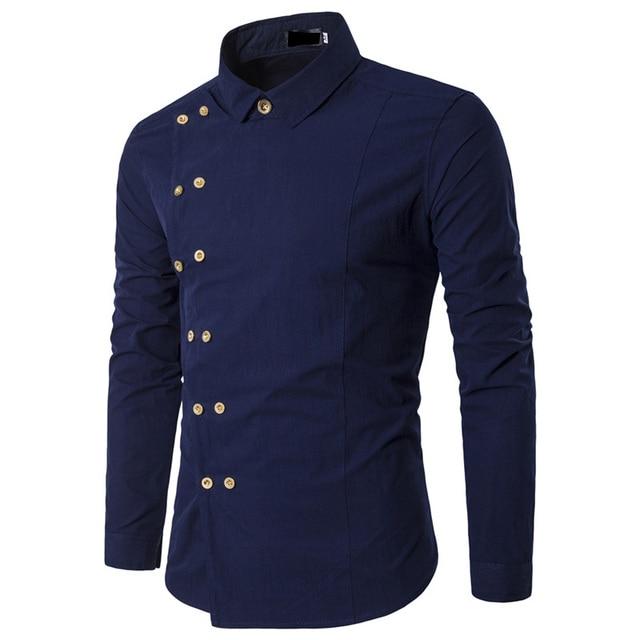 db7cd5c1a5 Hot 2019 Fashion Mens Long Sleeve Tuxedo camisa social masculina Shirts Slim  fit Casual Double breasted gentleman Men Shirt