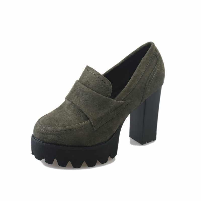 Kadın pompaları 10cm süet yüksek topuklu kalın 2019 yuvarlak kafa su geçirmez platformu siyah tek ayakkabı kadın kalın alt ince