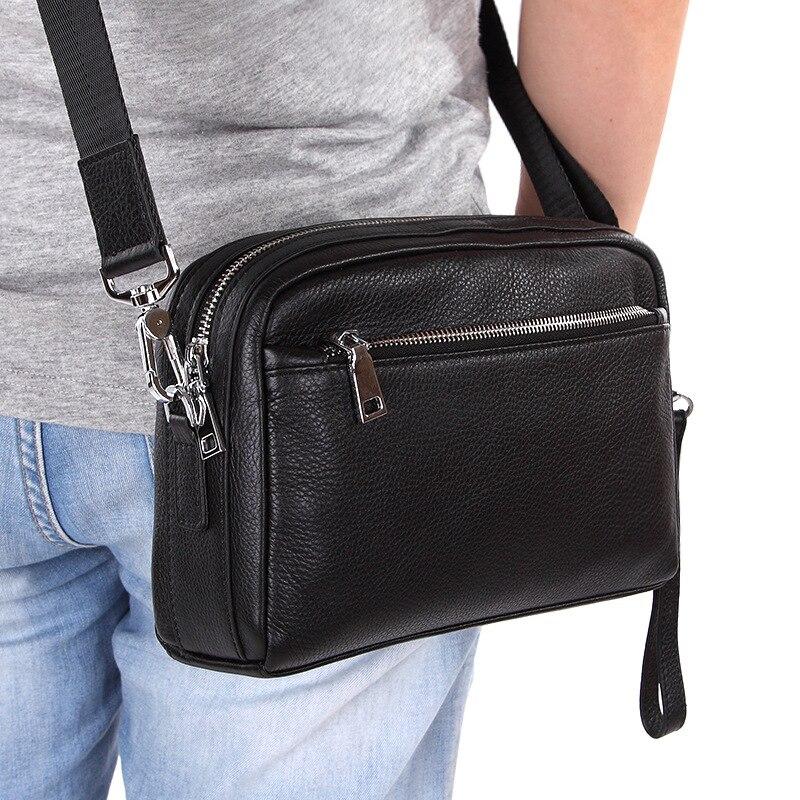 New Brand Men Genuine Leather Messenger Bag Business 8 Inch Laptop Shoulder Bag Black Male Clutch