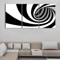 Hand Painted Abstract Black White Oil Painting Modern Home Decor Office Wall Art Pictures Decorativos 3 Panel Canvas Paintings