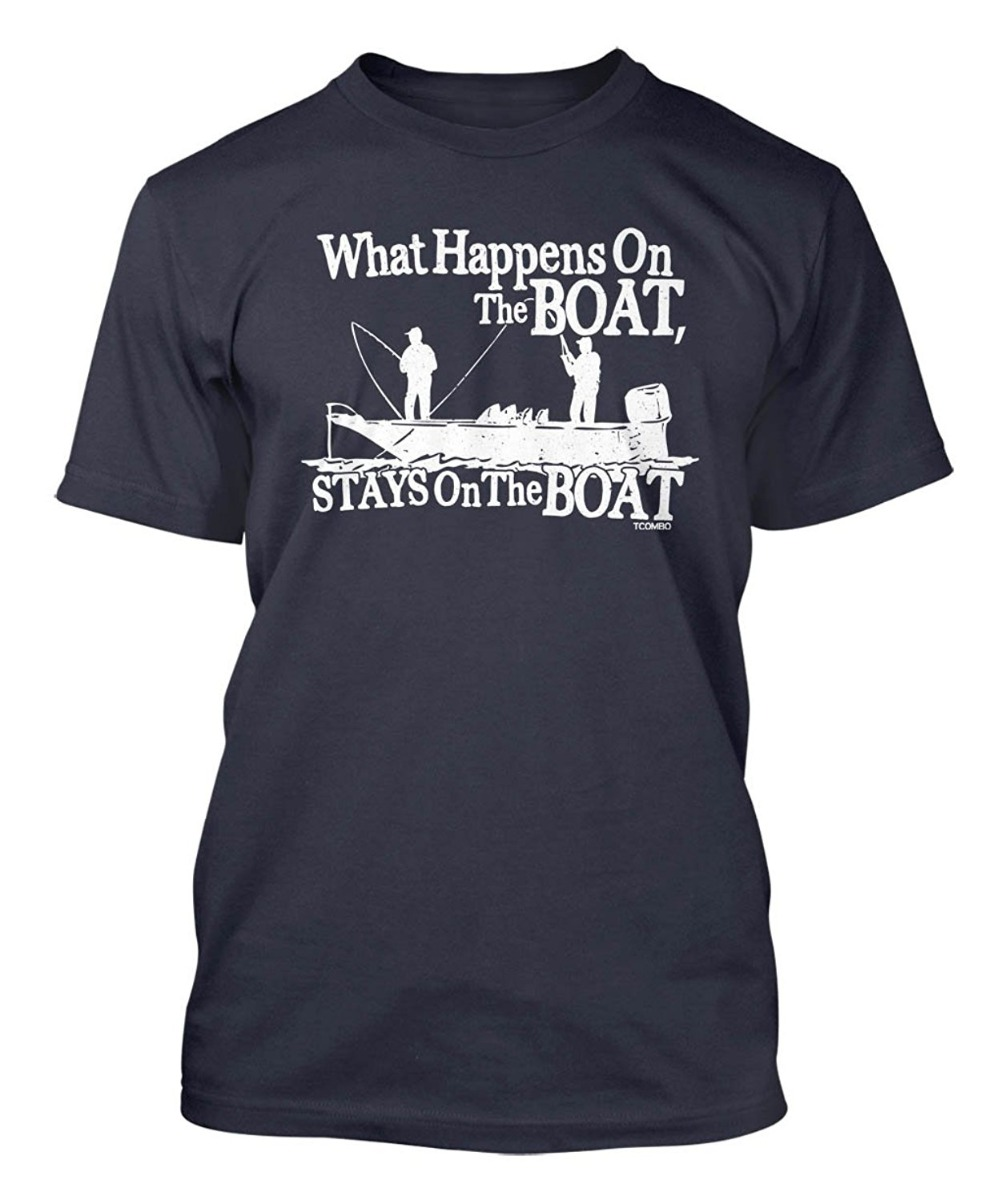 2018 New Summer T-shirts What Happens On The Boat Stays On The Boat Mens T-shirt Brand Clothing Men t ...