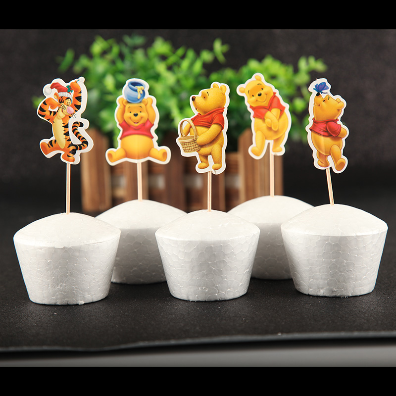Cupcake Toppers Picks 24pcs Winnie the Pooh donkey Tiger Kids Birthday Party Baby Shower Cake Decor Supplies