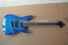 Custom Shop Top Qualität shell inlay ein stück hals Durch den körper Mit EMG TONABNEHMER LTD H-351NT blue Burst E-gitarre 2015