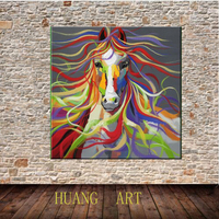 No frame Hand painted Modern Wall Art Pictures Living Room Home Decoration Abstract Horse Cartoon Animal Oil Paintings On Canvas