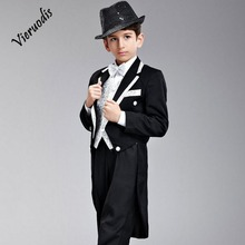 Custom Kids Suits Flower Boys Groom Wedding White Gold Lapel Black 4 pcs