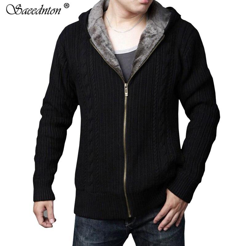Mode hommes chandail à capuche veste hiver décontracté laine velours doublure Cardigan mâle couleur unie épais chaud vêtement d'extérieur en tricot