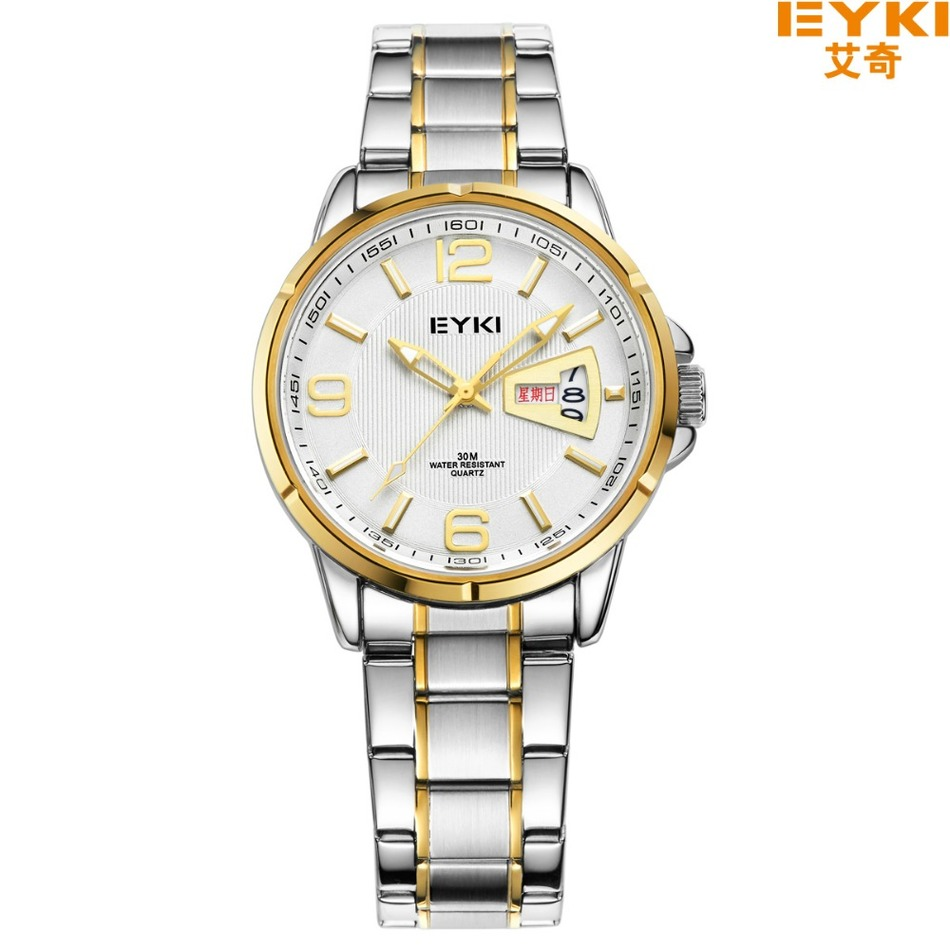 ФОТО Brand EYKI 30M Waterproof  Business Stainless Steel Wristwatch with Calendar and Week Large Digital Scale Men's Quartz Watches