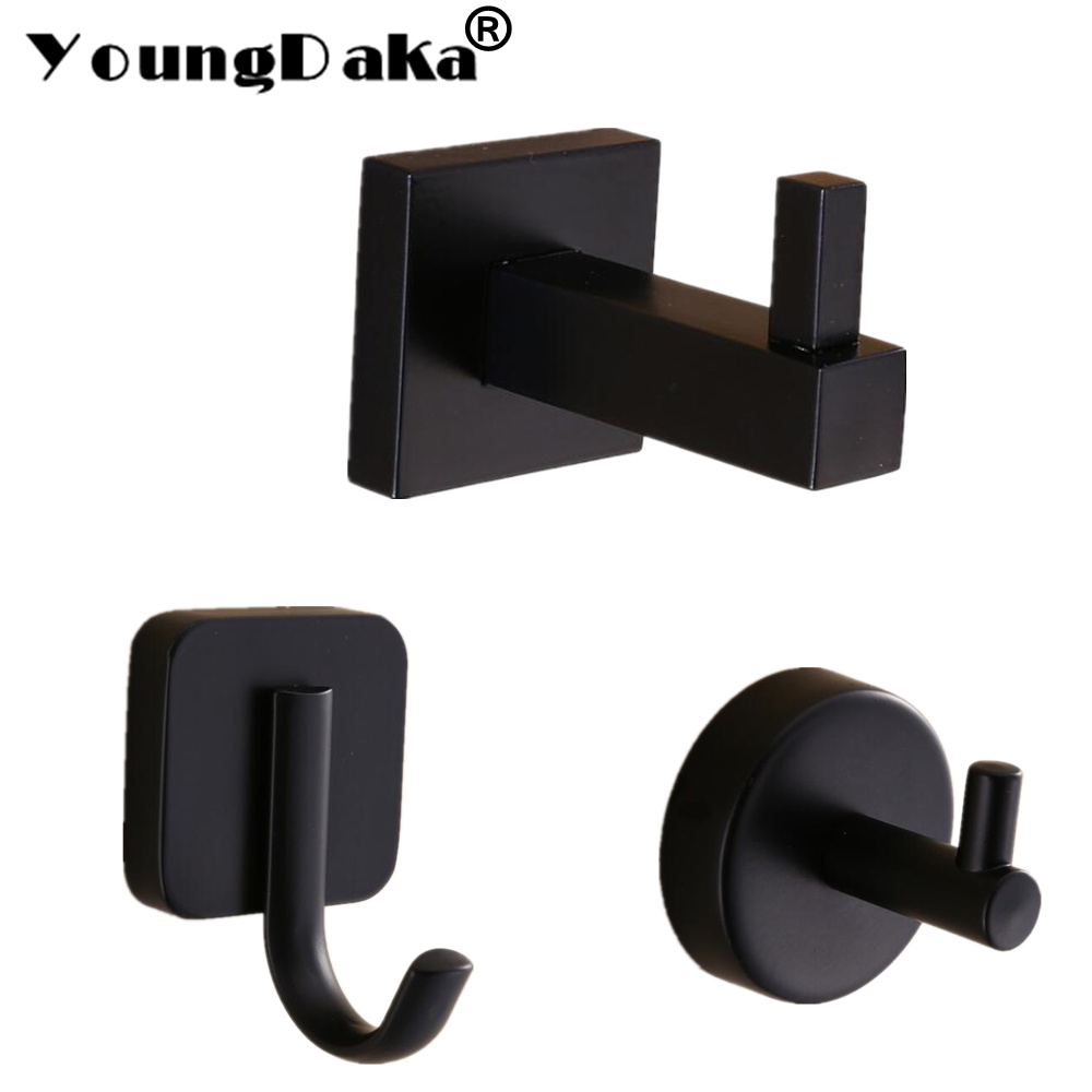 Modern Pure Black Design Wall Installation Stainless Steel Wall Hook . Bedroom Clothes Robe Hook Multi-function Kitchen Hooks