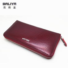 2016 Fashion famous brand wallet women genuine leather woman zipper organizer ladies cow wallets and purses