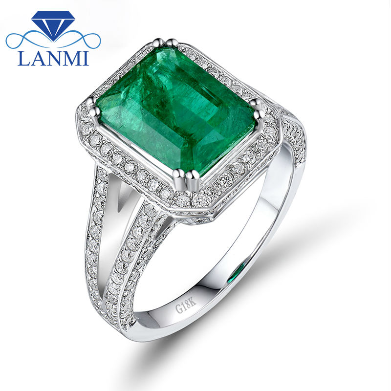 Vintage Emerald Cut 8x10mm Solid 18k White Gold Colombian Emerald Ring, Real Diamond Emerald Engagement Jewelry For