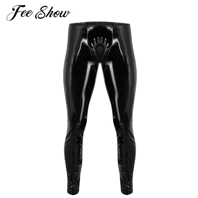 Black Mens Lingerie Wetlook Pants With a ring Shin...