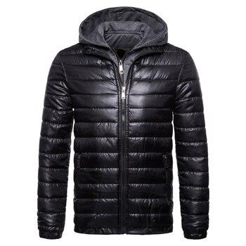 Besting Sale New Cotton Padded Coat Men Fashion Hooded Parkas Jacket Winter Windproof Warm Male Outwear Black Purple Red Green