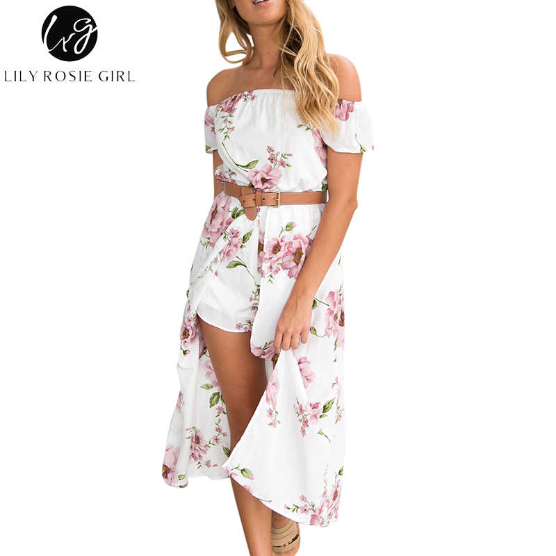 65bcb02aad2f ... Girl Off Shoulder White Boho Print Short Romper Women Short Sleeve Summer  Beach Sexy Jumpsuit Party Playsuits Overall on Aliexpress.com