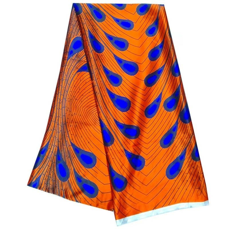 5Yards/pc Fashionable orange chiffon silk lace fabric printed blue feather pattern african smooth Rayon for dress LBS3-2