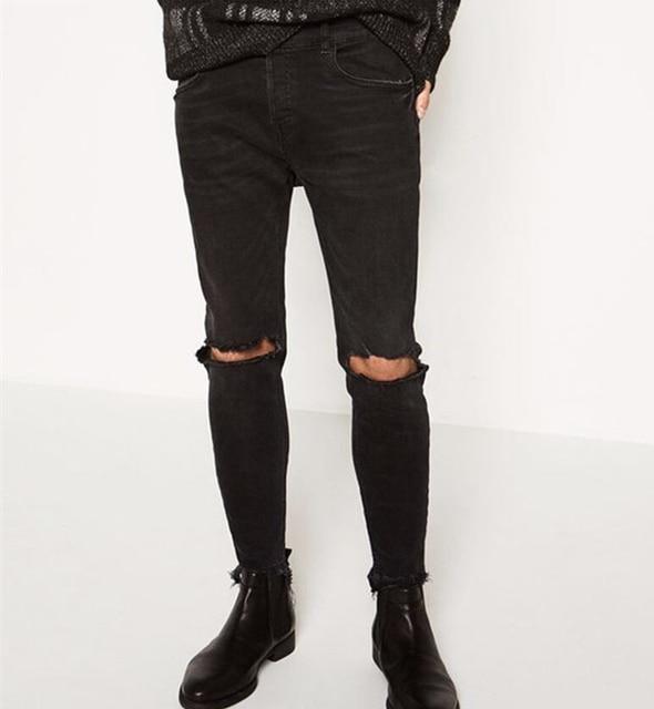 0d2e9b132d1 Skinny Jeans Men Black Classic fashion men jeans Destroyed slim fit man  black streetwear urban style denim jeans pants