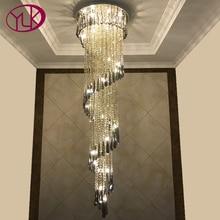 Youlaike современная люстра освещение лестницы серый дым кристалл лампы спираль дизайн украшения дома светильники