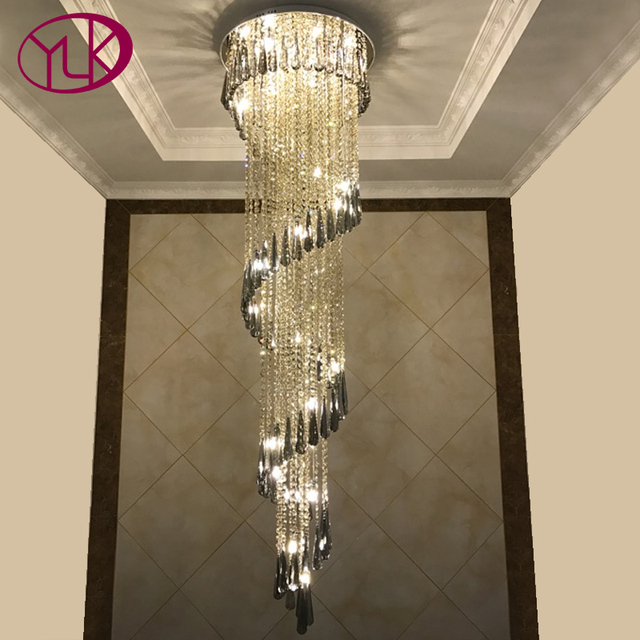 Youlaike Modern Lighting Chandelier For Stair Luxury Smoky Gray ...