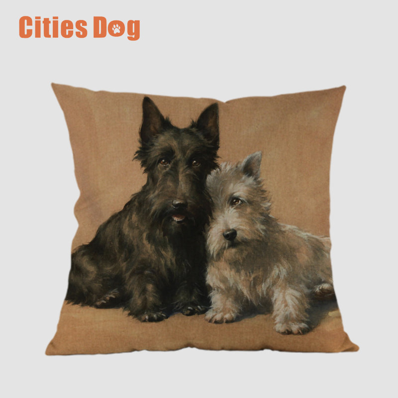 Scottish Terrier Animal dog Square Printed pillowcase decorative pillows Sofa cushioncover wedding decoration cojines almofada