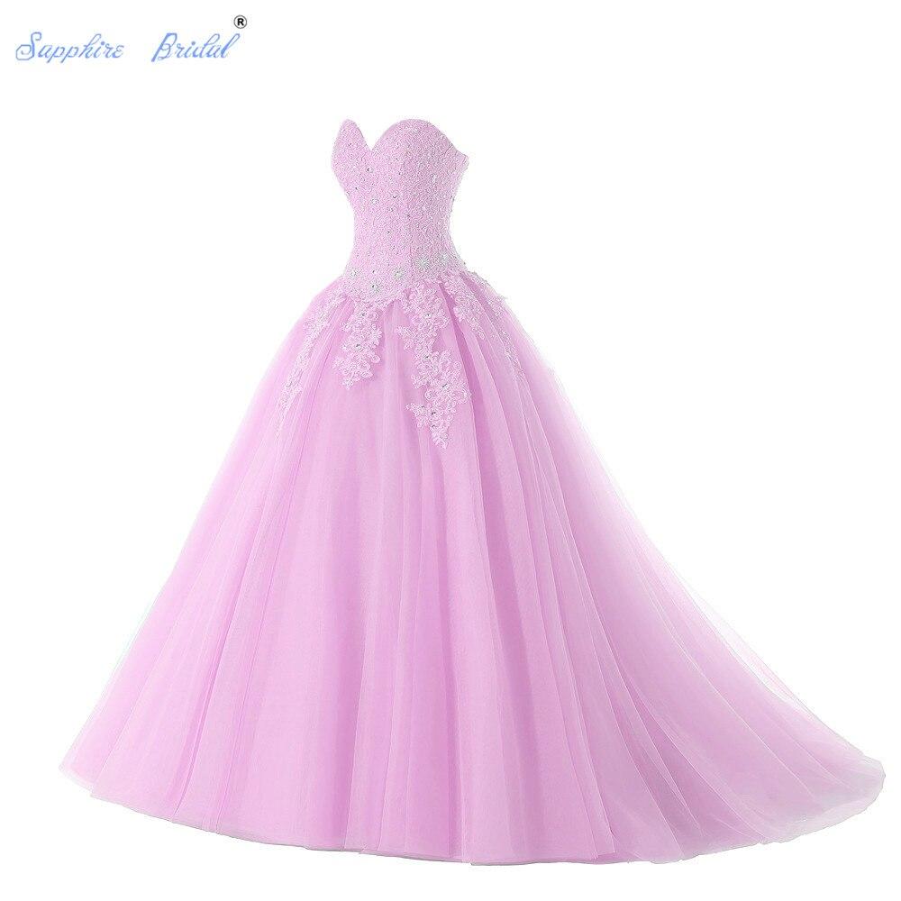 Zafiro nupcial 2019 vestidos largos De fiesta Vestido De 15 Anos De escote corazón tul lavanda Vestido rosado De quinceañera vestidos De graduación