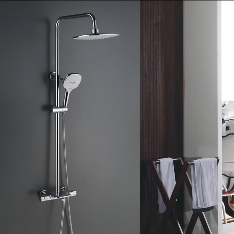 Ensemble de robinet de bain et de douche thermostatique brossé à l'huile noire pour salle de bain - 3