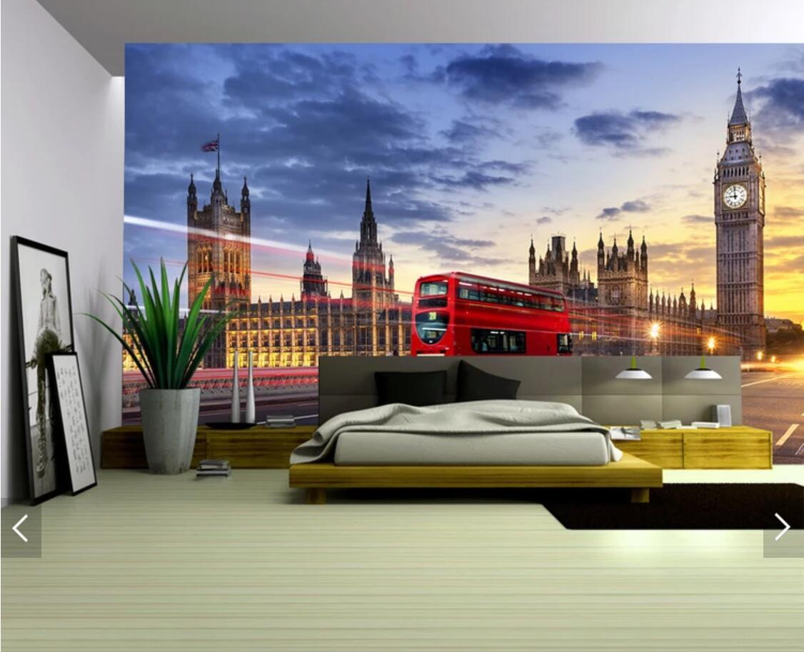 Customized 3d Wallpaper For Walls 3 D Mural Uk London Bridge Red