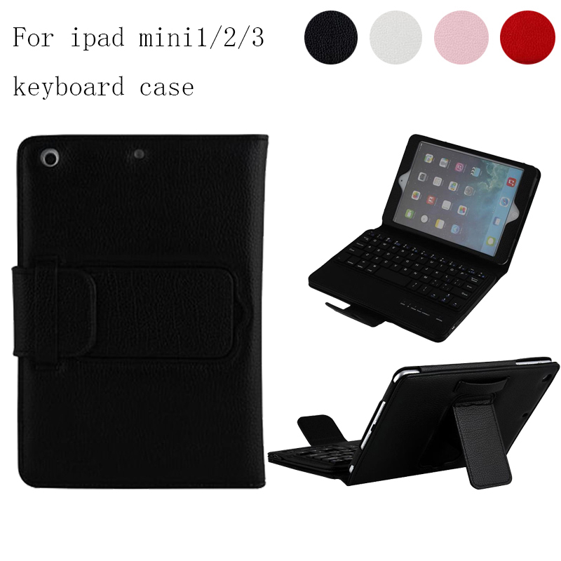 For iPad Mini 2 Mini 3 Mini 4 Magnetically Detachable Bluetooth Keyboard Portfolio Folio PU Leather Case Cover For Mini2/3/4 for ipad pro 12 9 keyboard case magnetic detachable wireless bluetooth keyboard cover folio pu leather case for ipad 12 9 cover
