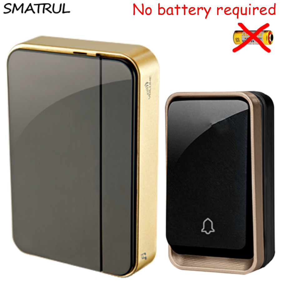 SMATRUL self powered Wireless DoorBell Waterproof no battery EU plug smart Door Bell chime 110-220V 1 2 Transmitter 1 2 Receiver wireless cordless digital doorbell remote door bell chime waterproof eu us uk au plug 110 220v