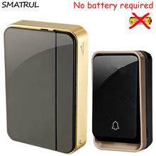 SMATRUL self powered Wireless DoorBell Waterproof no battery EU plug smart Door Bell chime 110-220V 1 2 Transmitter 1 2 Receiver