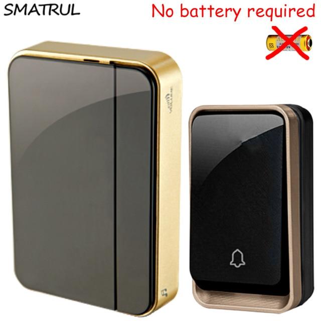SMATRUL Self Powered Wireless DoorBell Waterproof No Battery EU Plug Smart Door  Bell Chime 110