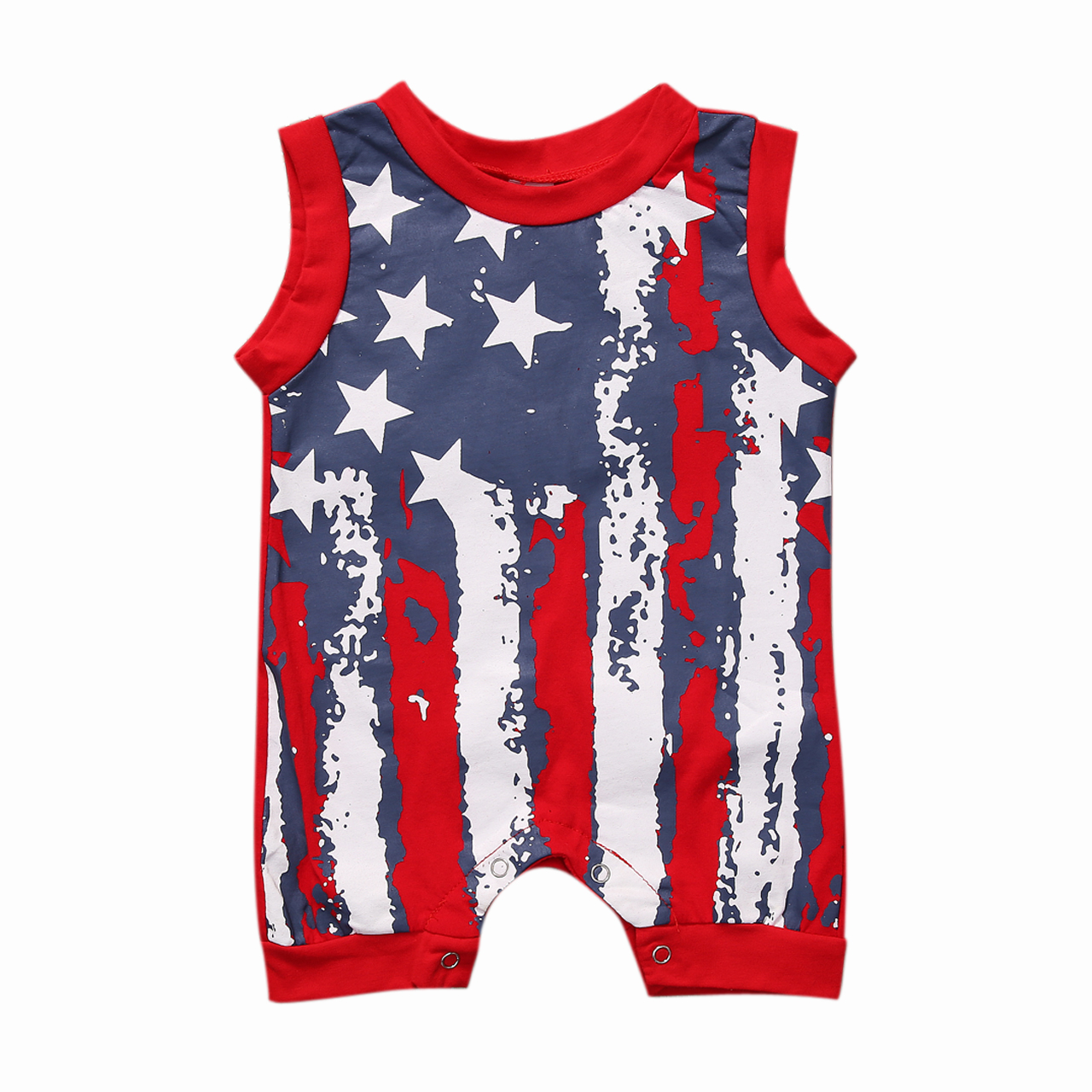 Pudcoco Baby American Flag   Rompers   Sleeveless Tank   Romper   For Babies Star Striped Print